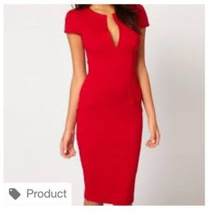 ASOS red pencil wiggle dress